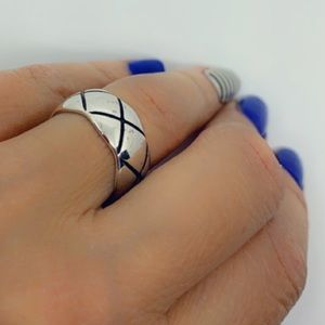 Sterling Silver Geometric Chunky Open Style Ring